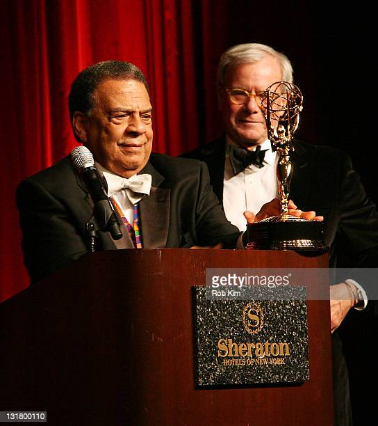 Andrew Young and Tom Brokaw attend the 2011 Trustees Emmy Award for Lifetime Achievement dinner and presentation at the Sheraton New York Hotel...