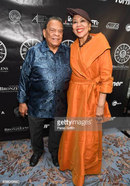 Andrew Young and wife Carolyn Young at 2017 BronzeLens Women SuperStars Luncheon at Westin Peachtree Plaza on August 25 2017 in Atlanta Georgia