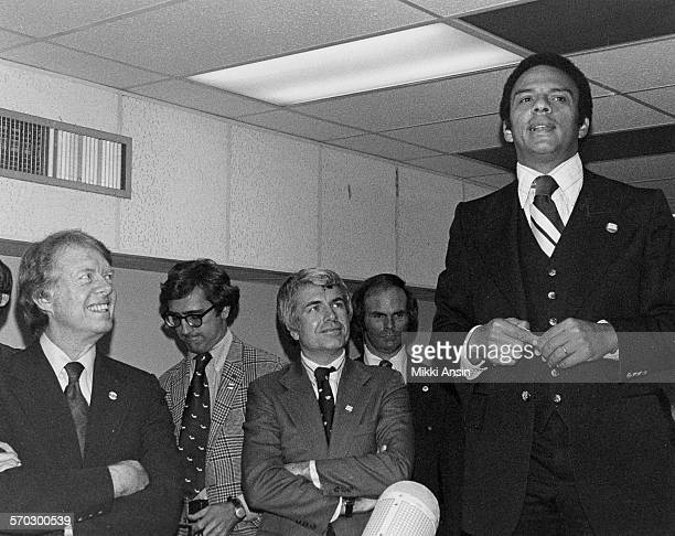 Andrew Young campaigns for American politician and Presidential candidate Jimmy Carter in Boston Massachusetts 1976