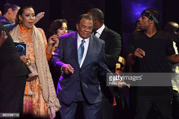 Andrew Young dance onstage at 2017 Andrew Young International Leadership Awards and 85th Birthday Tribute at Philips Arena on June 3 2017 in Atlanta...
