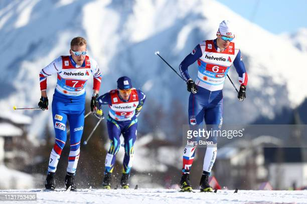 Andrew Young of Great Britain and Miroslav Rypl of Czech Republic compete in the first semifinal run for the Mens' Cross Country Team Sprint during...