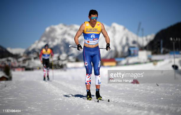 Andrew Young of Great Britain competes in the CrossCountry Men's 15k race of the FIS Nordic World Ski Championships at Langlauf Arena Seefeld on...
