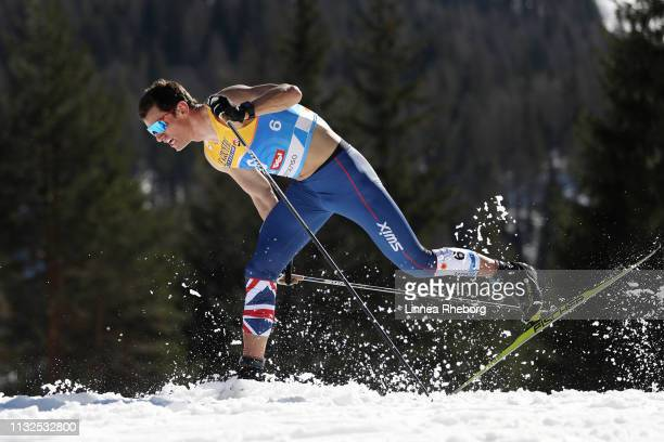 Andrew Young of Great Britain competes in the Cross-Country Men's 15k race during the FIS Nordic World Ski Championships at Langlauf Arena Seefeld on...