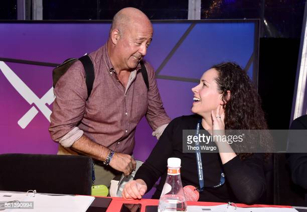 Andrew Zimmern and Stephanie Izard attend the Food Network Cooking Channel New York City Wine Food Festival presented by CocaCola Rooftop Iron Chef...