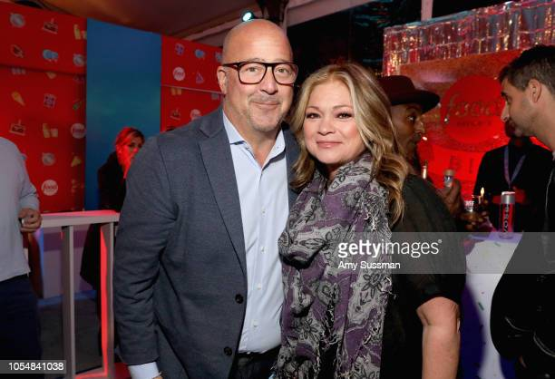 Andrew Zimmern and Valerie Bertinelli attend Food Network's 25th Birthday Party Celebration at the 11th annual New York City Wine Food Festival at...