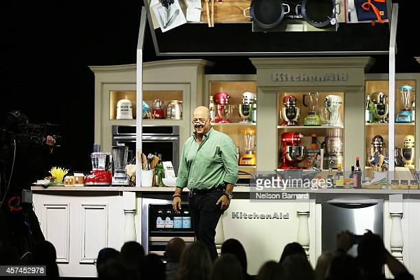 Andrew Zimmern conducts a cooking demonstration at the Grand Tasting presented by ShopRite featuring KitchenAid® culinary demonstrations presented by...