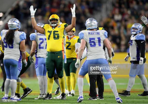 Andrew Lauderdale of the Arizona Hotshots reacts after a successful field goal during the Alliance of American Football game against the Salt Lake...
