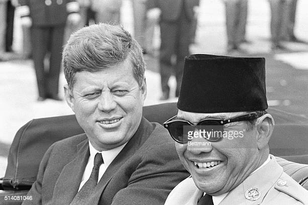 4/24/1961 Andrews Air Force Base MD Sukarno Here For Talks President Kenendy and Indonesian President Sukarno are shown in back of limousine...