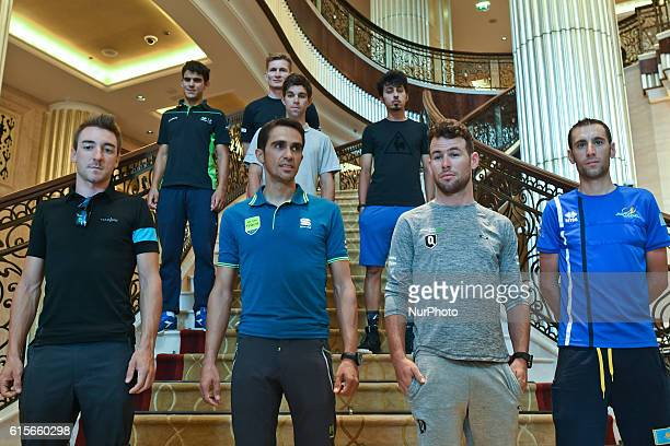 Andrey Amador Andre Greipel Michael Matthews Yousif Mirza Elia Viviani Alberto Contador Mark Cavendish and Vincenzo Nibali pictured during a...