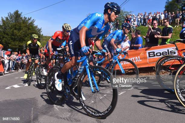 Andrey Amador Bikkazakova of Costa Rica and Movistar Team /during the 82nd La Fleche Wallonne 2018 a 1985km race from Seraing to Mur De Huy on April...