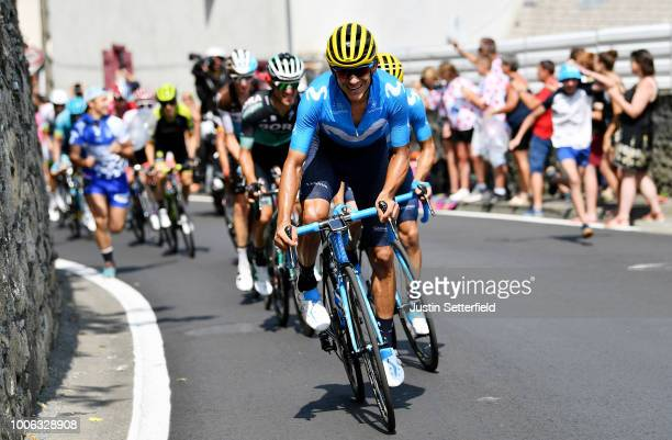 Andrey Amador of Costa Rica and Movistar Team ABUS Yellow Helmet Best Team /during the 105th Tour de France 2018 Stage 19 a 2005km stage from Lourdes...