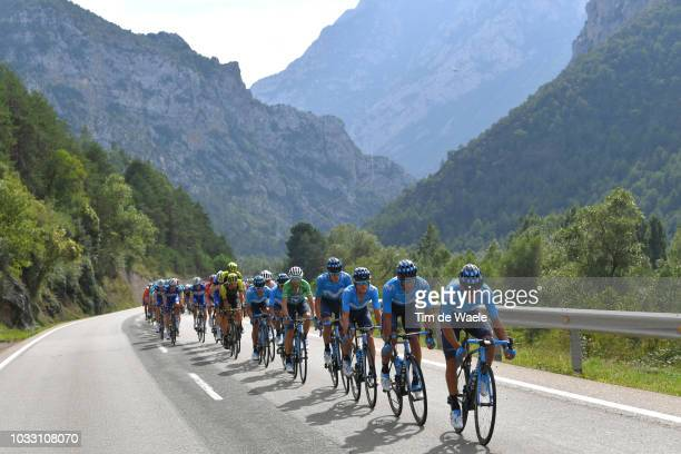 Andrey Amador of Costa Rica and Movistar Team / Daniele Bennati of Italy and Movistar Team / Alejandro Valverde of Spain and Movistar Team Green...