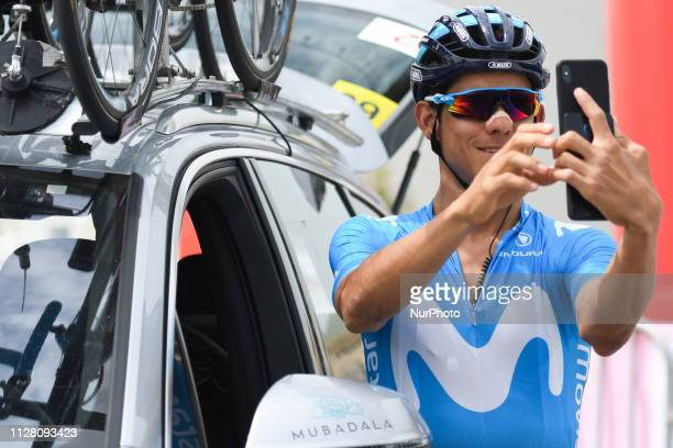 Andrey Amador of Movistar Team seen taking a selfie at the start line of the fifth Sharjah Stage of UAE Tour 2019 a 181km with a start from...