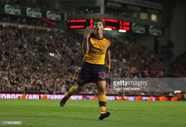 Andrey Arshavin celebrates scoring his and Arsenal's 4th goal during the Premier League match between Liverpool and Arsenal on April 21, 2009 in...