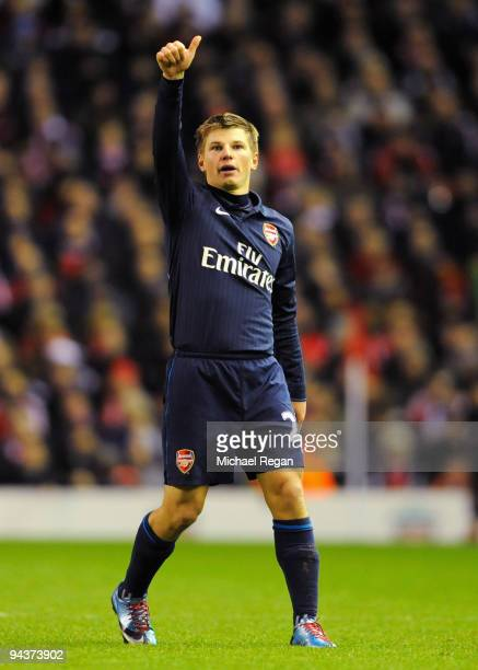 Andrey Arshavin of Arsenal celebrates scoring his team's second goal during the Barclays Premier League match between Liverpool and Arsenal at...