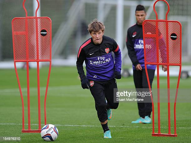 Andrey Arshavin of Arsenal during a training session at London Colney on October 29, 2012 in St Albans, England.
