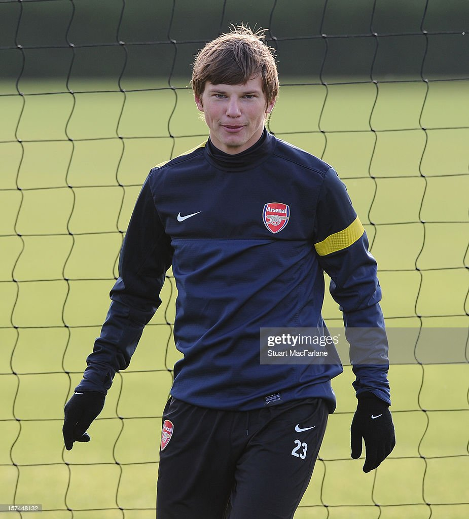 Andrey Arshavin of Arsenal during a training session at London Colney on December 03, 2012 in St Albans, England.