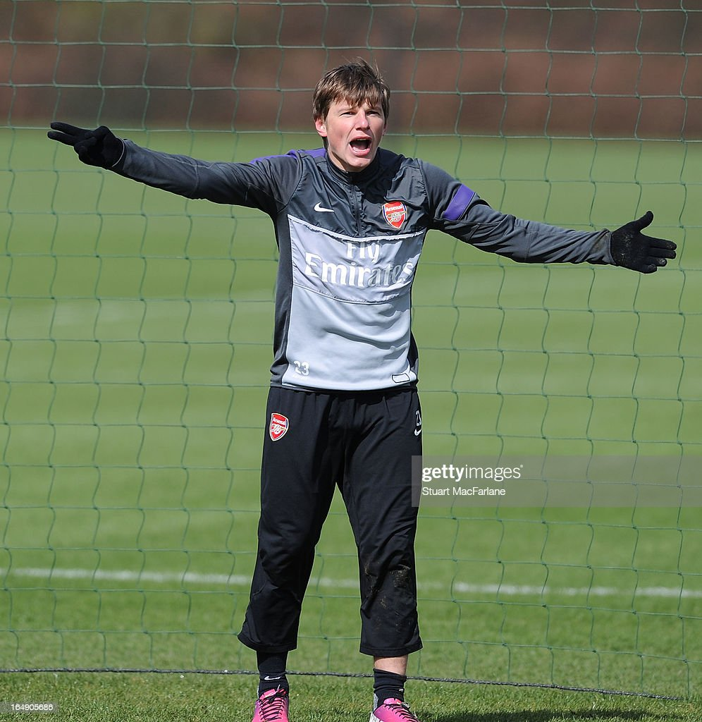 Andrey Arshavin of Arsenal during a training session at London Colney on March 29, 2013 in St Albans, England.