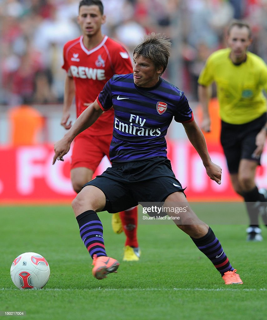 Andrey Arshavin of Arsenal in action against FC Cologne during Pre-Season Friendly game at Rhein Energie Stadium on August 12, 2012 in Cologne, Germany.