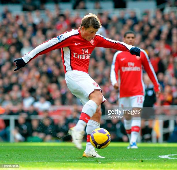 Andrey Arshavin of Arsenal in action during the Barclays Premier League match between Arsenal and Fulham at Emirates Stadium in London on February 28...