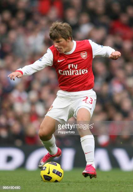 Andrey Arshavin of Arsenal in action during the Barclays Premier League match between Arsenal and Newcastle United at the Emirates Stadium on...