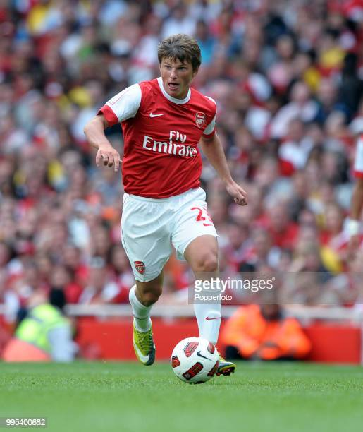 Andrey Arshavin of Arsenal in action during the Emirates Cup match between Arsenal and Celtic at the Emirates Stadium on August 1 2010 in London...