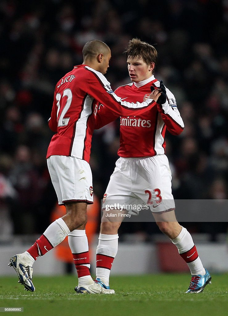 Andrey Arshavin of Arsenal is congratulated by Gael Clichy of Arsenal after he scored his teams fourth goal during the Barclays Premier League match between Arsenal and Bolton Wanderers at The Emirates Stadium on January 20, 2010 in London, England.