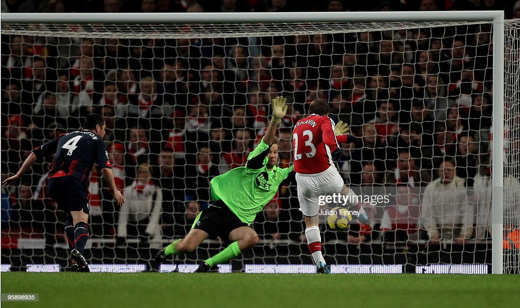 Andrey Arshavin of Arsenal scores his teams fourth goal during the Barclays Premier League match between Arsenal and Bolton Wanderers at The Emirates Stadium on January 20, 2010 in London, England.