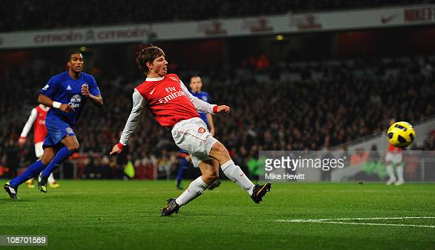 Andrey Arshavin of Arsenal scores their first goal during the Barclays Premier League match between Arsenal and Everton at the Emirates Stadium on...