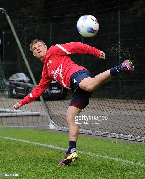 Andrey Arshavin of Arsenal takes part in a team training session during the club's pre-season preparations on July 24, 2011 in Hennef, North...