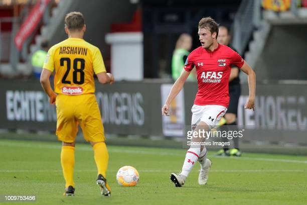 Andrey Arshavin of FC Kairat Thomas Ouwejan of AZ Alkmaar during the UEFA Europa League match between AZ Alkmaar v Kairat at the AFAS Stadium on...