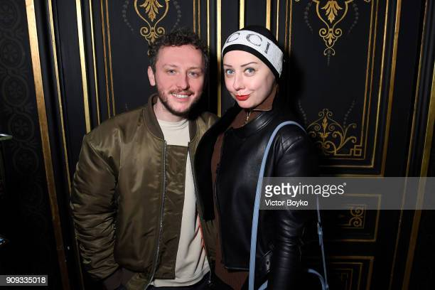 Andrey Artyomov and Elena Bessonova attend the Ulyana Sergeenko Presentation as part of Paris Fashion Week Haute Couture Spring Summer 2018 show as...