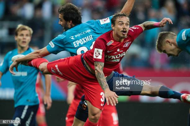 Andrey Eshchenko of FC Spartak Moscow vie for the ball during the Russian Football League match between FC Zenit St Petersburg and FC Spartak Moscow...