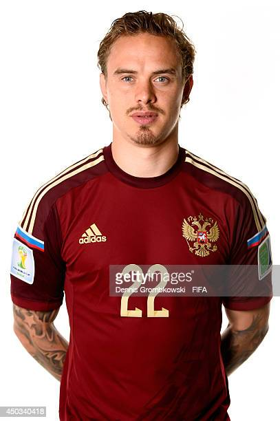 Andrey Eshchenko of Russia poses during the Official FIFA World Cup 2014 portrait session on June 9 2014 in Sao Paulo Brazil