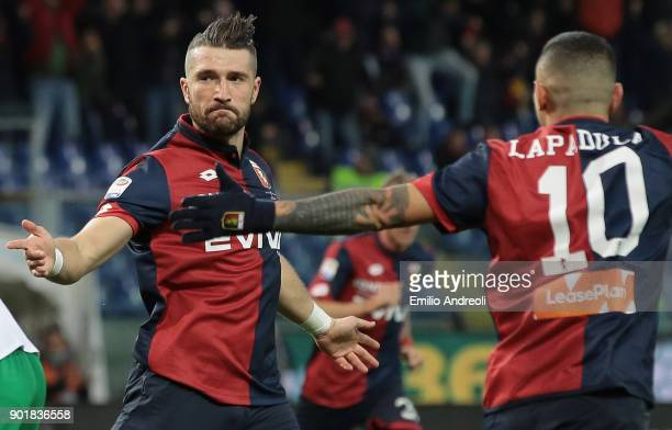 Andrey Galabinov of Genoa CFC celebrates after scoring the opening goal during the serie A match between Genoa CFC and US Sassuolo at Stadio Luigi...
