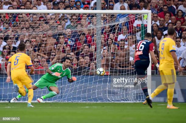 Andrey Galabinov of Genoa CFC scores on a penalty during the Serie A football match between Genoa CFC and Juventus FC Juventus FC wins 42 over Genoa...