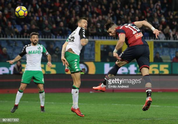Andrey Galabinov of Genoa CFC scores the opening goal during the serie A match between Genoa CFC and US Sassuolo at Stadio Luigi Ferraris on January...