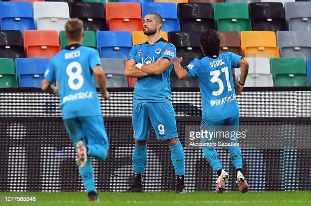 Andrey Galabinov of Spezia Calcio celebrates after scoring the opening goal during the Serie A match between Udinese Calcio and Spezia Calcio at...