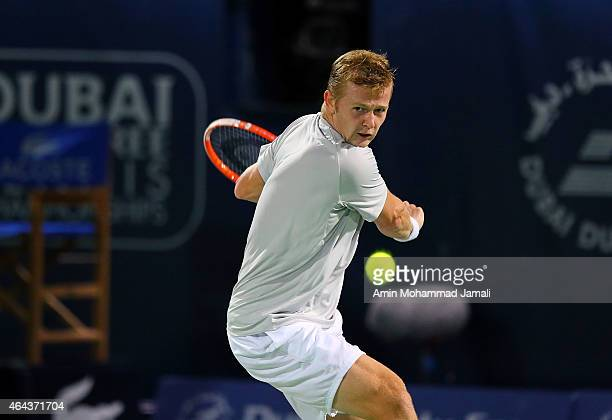 Andrey Golubev of Kazakhestan in action against Novak Djokovic during day three of the ATP Dubai Duty Free Tennis Championships at the Dubai Duty...