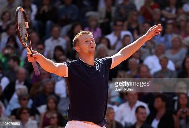 Andrey Golubev of Kazakhstan celebrates after winning his final match against Juergen Melzer of Austria during the International German Open at...