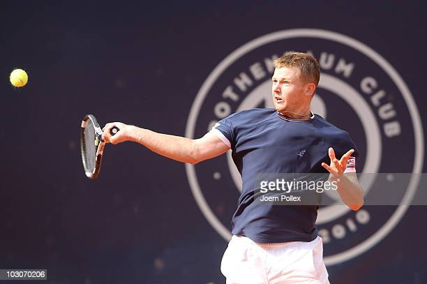 Andrey Golubev of Kazakhstan returns a forehand during his Semi Final match against Florian Mayer of Germany during the International German Open at...