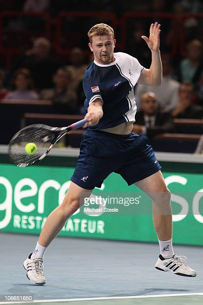 Andrey Golubev of Kazhakstan during his second round match against Gilles Simon of France during Day Three of the ATP Masters Series Paris at the...