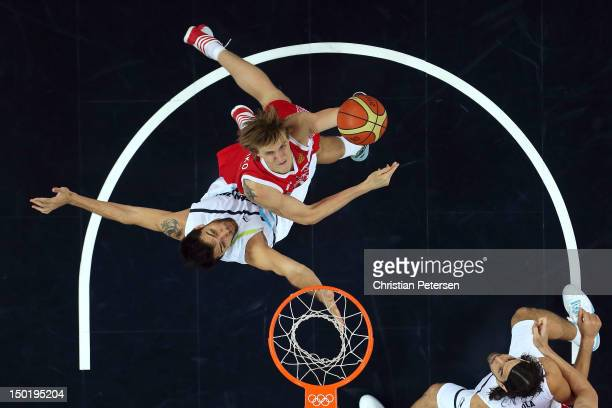 Andrey Kirilenko of Russia puts up a shot during the Men's Basketball bronze medal game between Russia and Argentina on Day 16 of the London 2012...