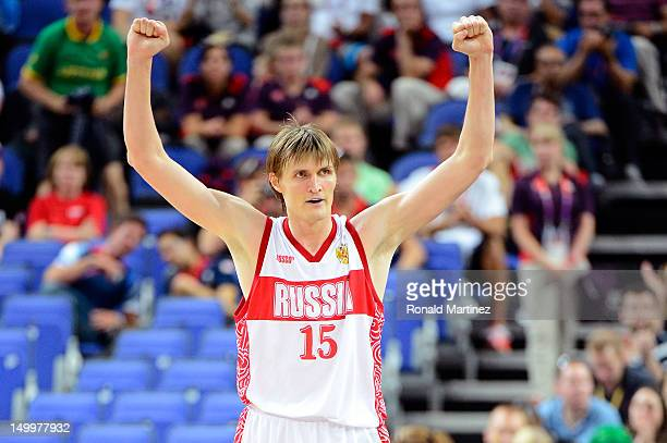 Andrey Kirilenko of Russia reacts while taking on Lithuania late in the fourth quarter during the Men's Basketball quaterfinal game on Day 12 of the...