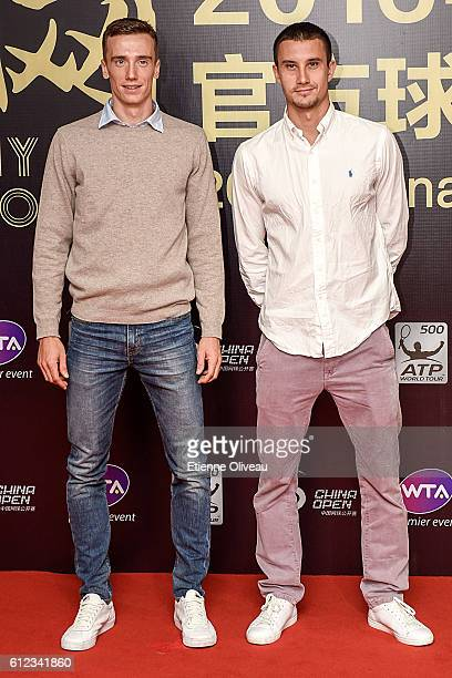 Andrey Kuznetsov of Russia and Evgeny Donskoy of Russia arrive at the 2016 China Open Player Party at The Birds Nest on October 3 2016 in Beijing...