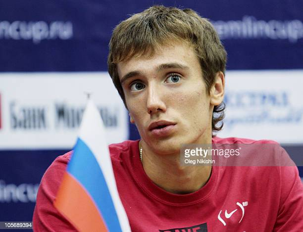 Andrey Kuznetsov of Russia attends a press conference during the ATP Kremlin Cup Tennis at the Olympic Stadium on October 19, 2010 in Moscow, Russia.