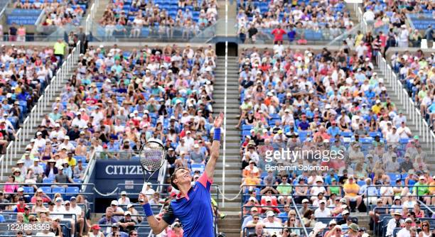 Andrey Kuznetsov of Russia during the 2014 US Open at the USTA Billie Jean King National Tennis Center on August 30, 2014 in the Queens borough of...