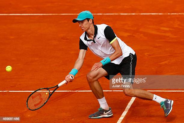 Andrey Kuznetsov of Russia plays in action in his match against Gael Monfils of France during day three of the Monte Carlo Rolex Masters tennis at...