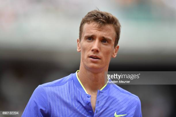 Andrey Kuznetsov of Russia reacts during his men's single match against Andy Murray of Great Britain on day three of the 2017 French Open at Roland...
