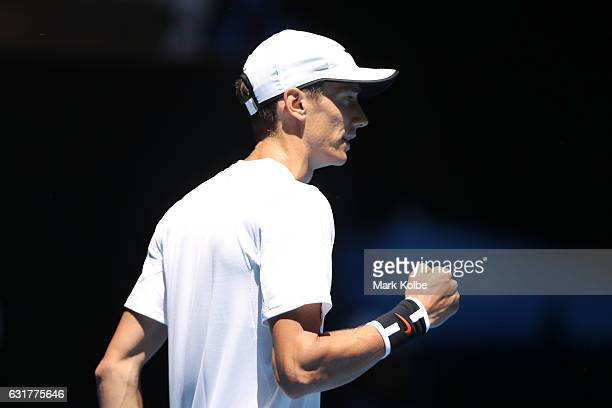 Andrey Kuznetsov of Russia reacts in his first round match against Kei Nishikori of Japan on day one of the 2017 Australian Open at Melbourne Park on...